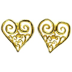Vintage Large Heart Earrings