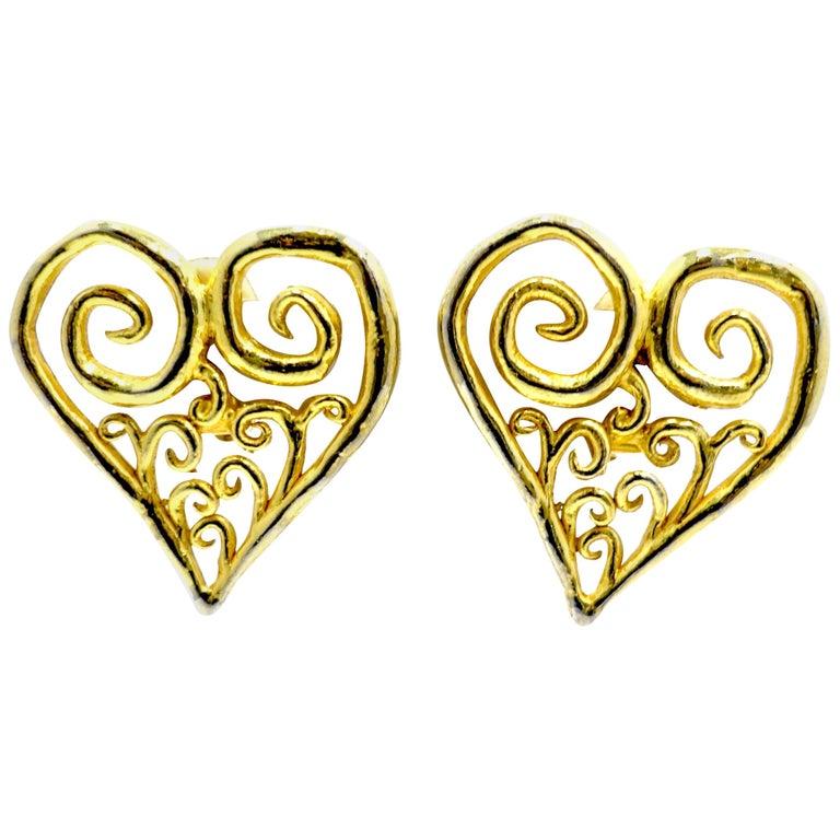 Vintage Large Heart Earrings For Sale