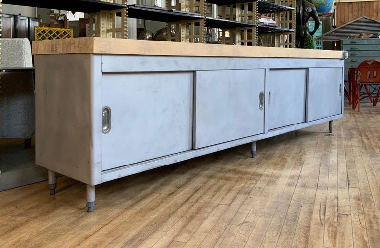 American Vintage Large Industrial Steel Cabinet with Butcher Block Top For Sale