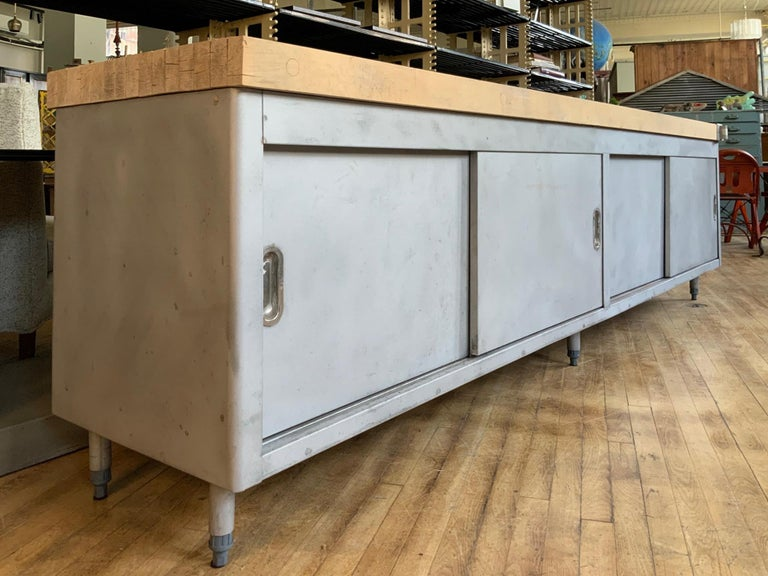 Vintage Large Industrial Steel Cabinet with Butcher Block Top In Good Condition For Sale In Hudson, NY