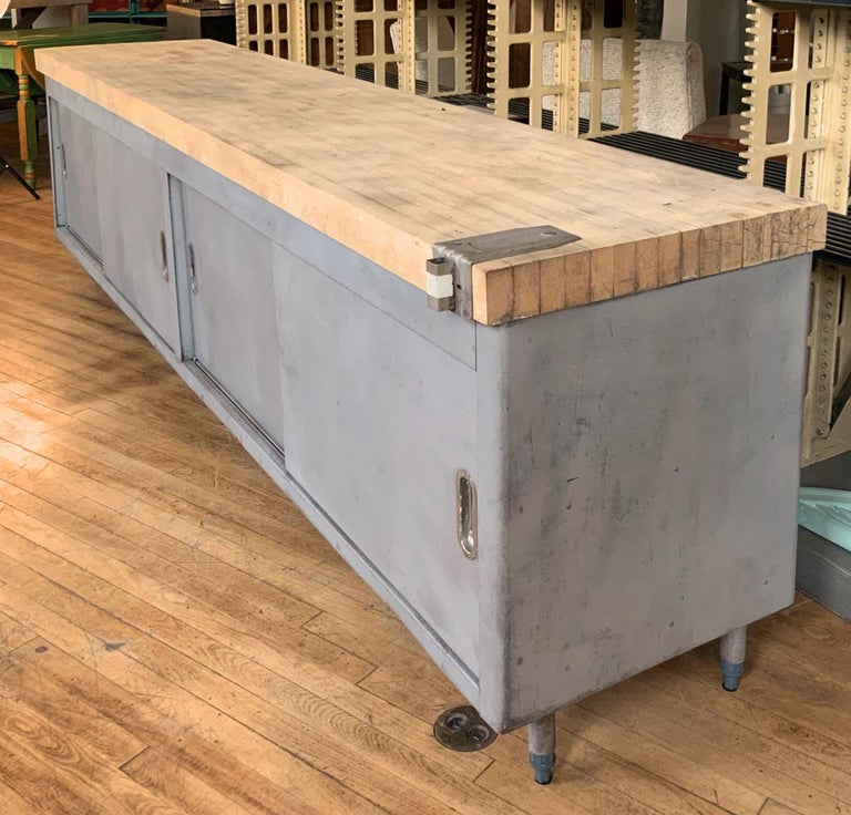 Late 20th Century Vintage Large Industrial Steel Cabinet with Butcher Block Top For Sale
