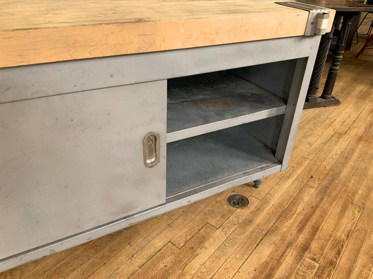 Vintage Large Industrial Steel Cabinet with Butcher Block Top For Sale 2