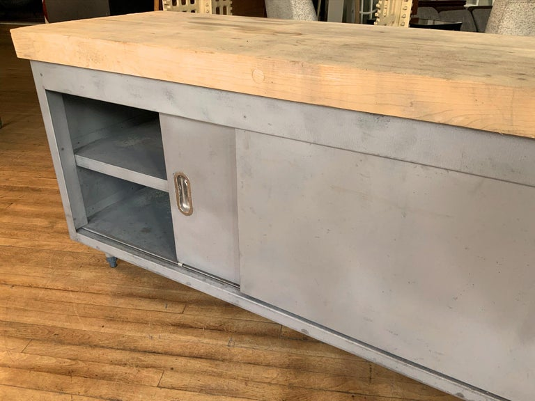 Vintage Large Industrial Steel Cabinet with Butcher Block Top For Sale 3