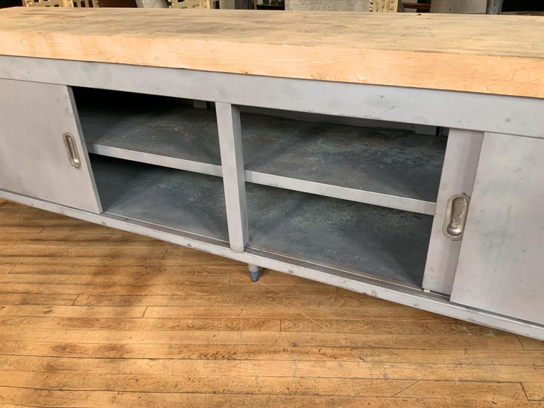 Vintage Large Industrial Steel Cabinet with Butcher Block Top For Sale 4