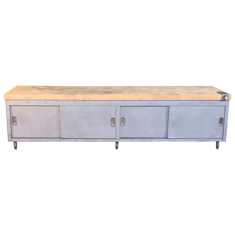 Vintage Large Industrial Steel Cabinet with Butcher Block Top For Sale