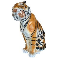 Vintage Large Italian Ceramic Sitting Tiger Statue