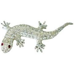 Vintage Large Kirks Folly Crystal Alligator Brooch