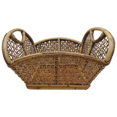 Vintage Large Laundry Bamboo and Rattan Basket
