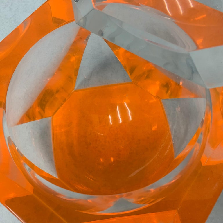 Vintage Large Lucite Ice Bucket by Alessandro Albrizzi In Fair Condition For Sale In East Hampton, NY