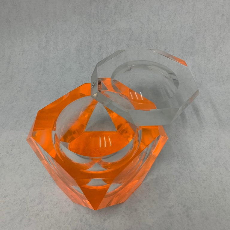 Late 20th Century Vintage Large Lucite Ice Bucket by Alessandro Albrizzi For Sale