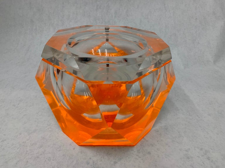 Vintage Large Lucite Ice Bucket by Alessandro Albrizzi For Sale 1