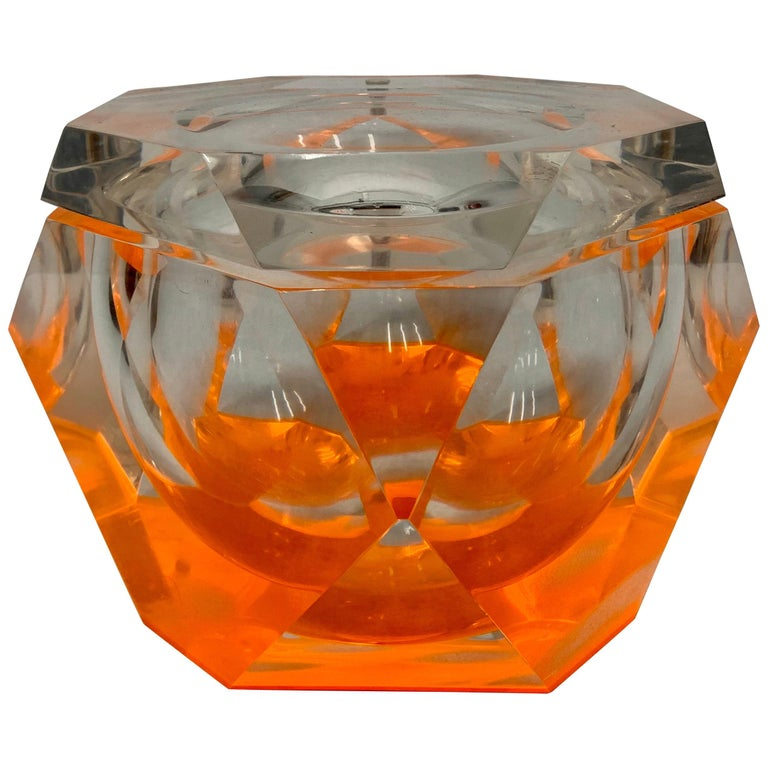 Vintage Large Lucite Ice Bucket by Alessandro Albrizzi For Sale