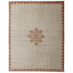 Vintage Large Moroccan Rug with Blossom Design in Light brown and Cream