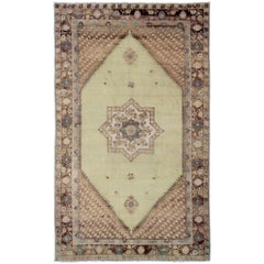 Vintage Large Moroccan Rug with Star Medallion in Light Green