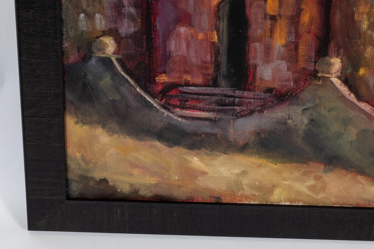 Wood Vintage Large Oil Painting, Signed by Artist For Sale