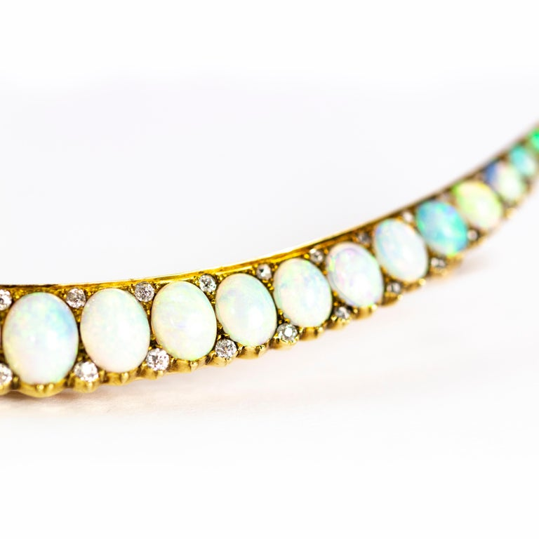 Art Deco Vintage Large Opal and Diamond 18 Carat Gold Crescent Brooch For Sale