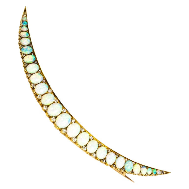Vintage Large Opal and Diamond 18 Carat Gold Crescent Brooch For Sale