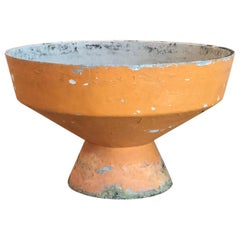 Vintage Large Orange Painted Cement Planter Jardinière