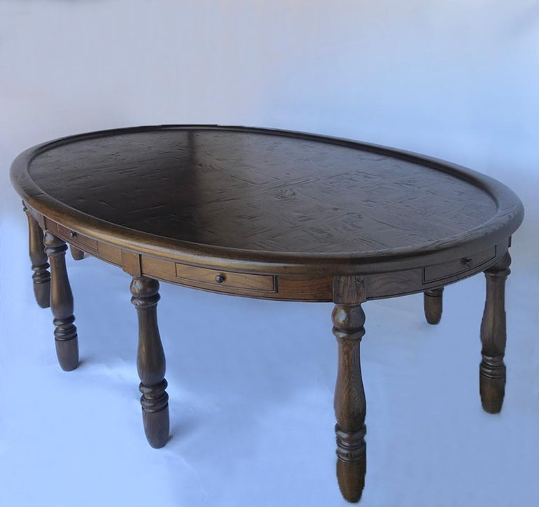 American Classical Vintage Large Oval Conference or Center Table in Oak For Sale
