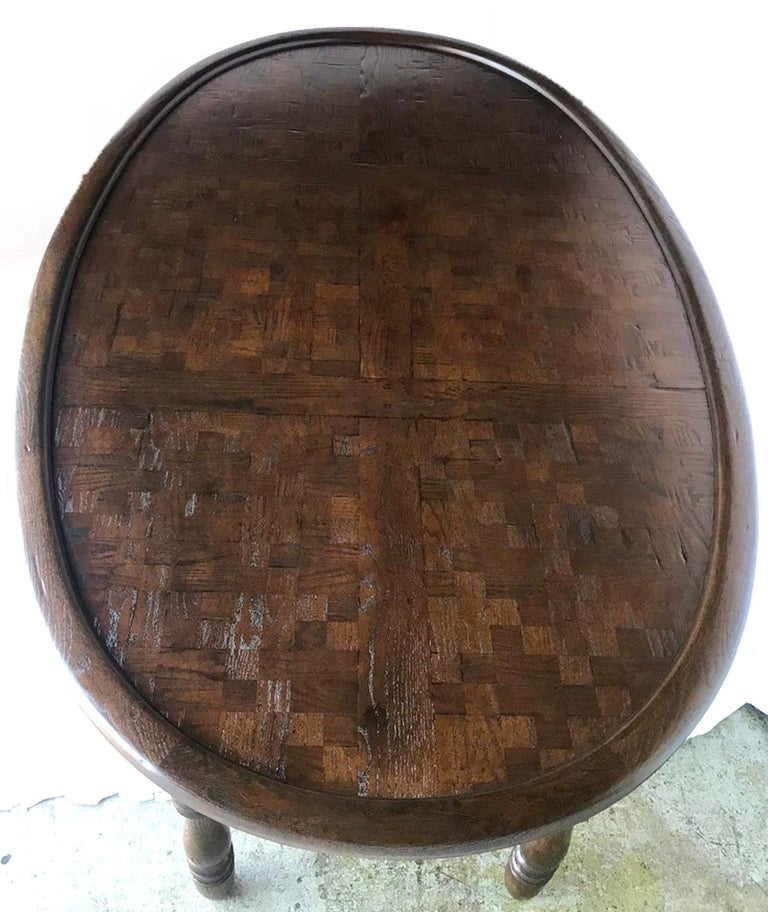 Vintage Large Oval Conference or Center Table in Oak In Excellent Condition For Sale In Los Angeles, CA