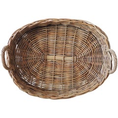 Vintage Large Oval Farm Table Woven Basket with Handles