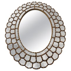 Vintage Large Oval Gold Leaf Peruvian Mirror with Scalloped Edges