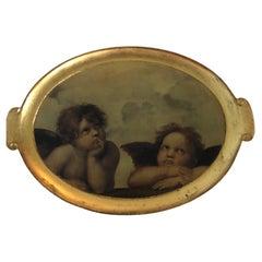 Vintage Large Oval Gold Leaf Serving Tray