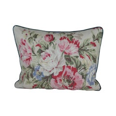 Vintage Large Pink and Green Cabbage Roses Chintz Bolster Decorative Pillow