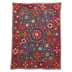 Vintage Large Red and Orange Floral Suzani Textile Panel