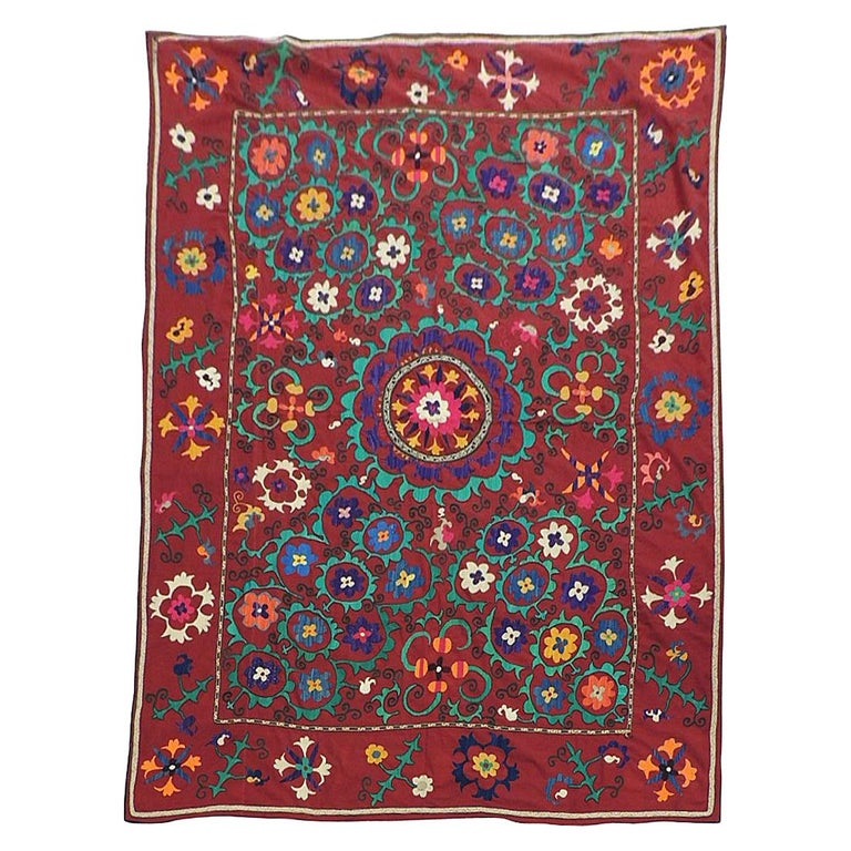 Vintage Large Red and Orange Floral Suzani Textile Panel For Sale