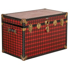 Vintage Large Red Plaid Travel Trunk, USA