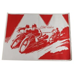 Vintage Large Red Speedway Motorsport Poster, 20th Century