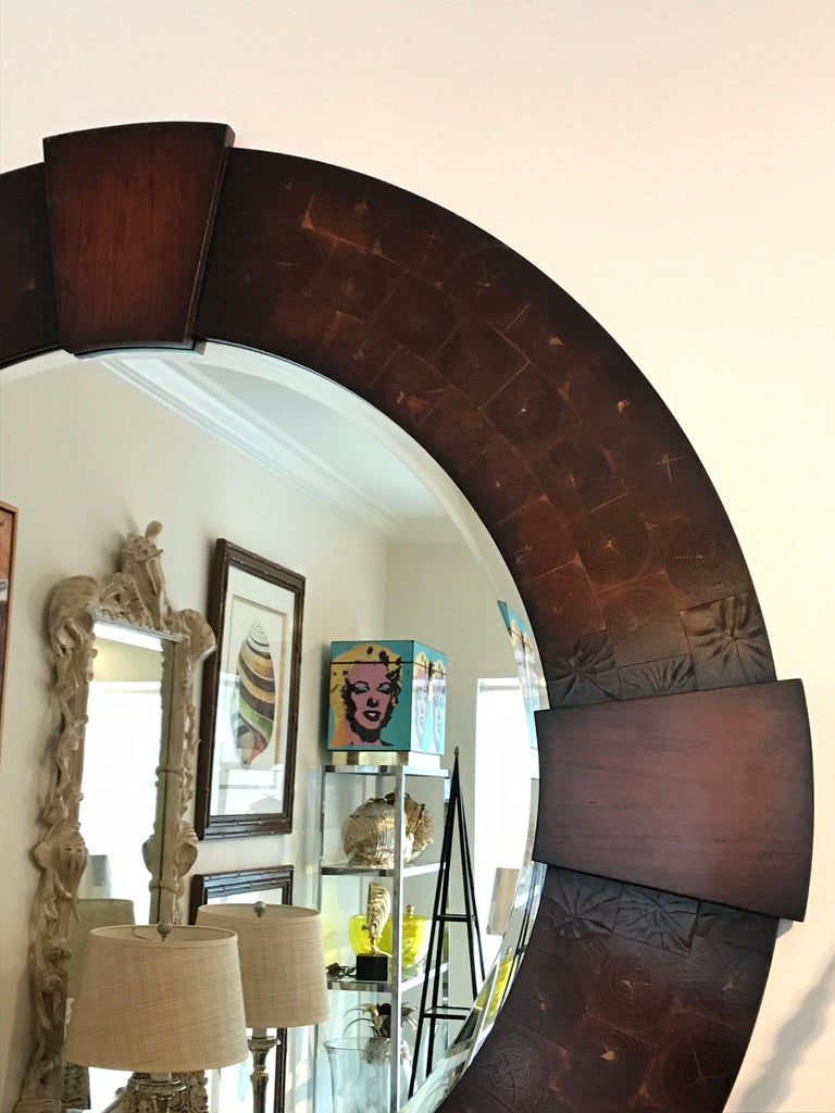 Vintage Large Round Oyster Wood Mirror For Sale 1