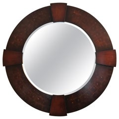 Vintage Large Round Oyster Wood Mirror