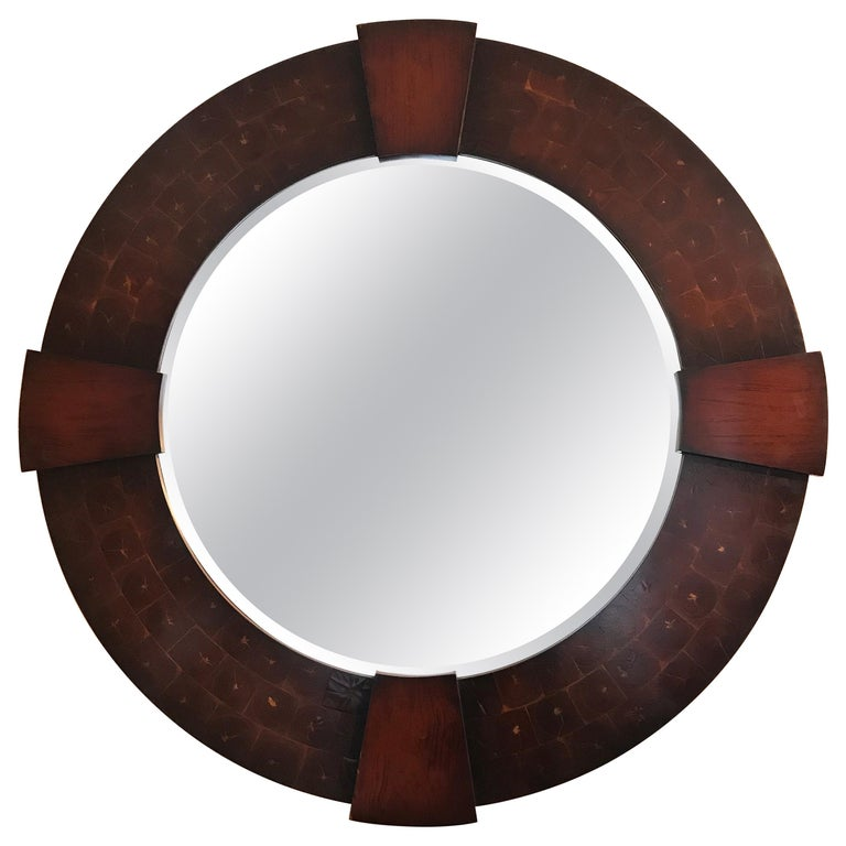 Vintage Large Round Oyster Wood Mirror For Sale