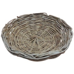 Vintage Large Round Primitive Style Willow Woven Basket/ Bowl