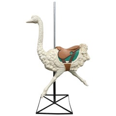 "Vintage Large Scale Fiberglass ""Dentzel"" Style Ostrich on Stand, circa 1950"