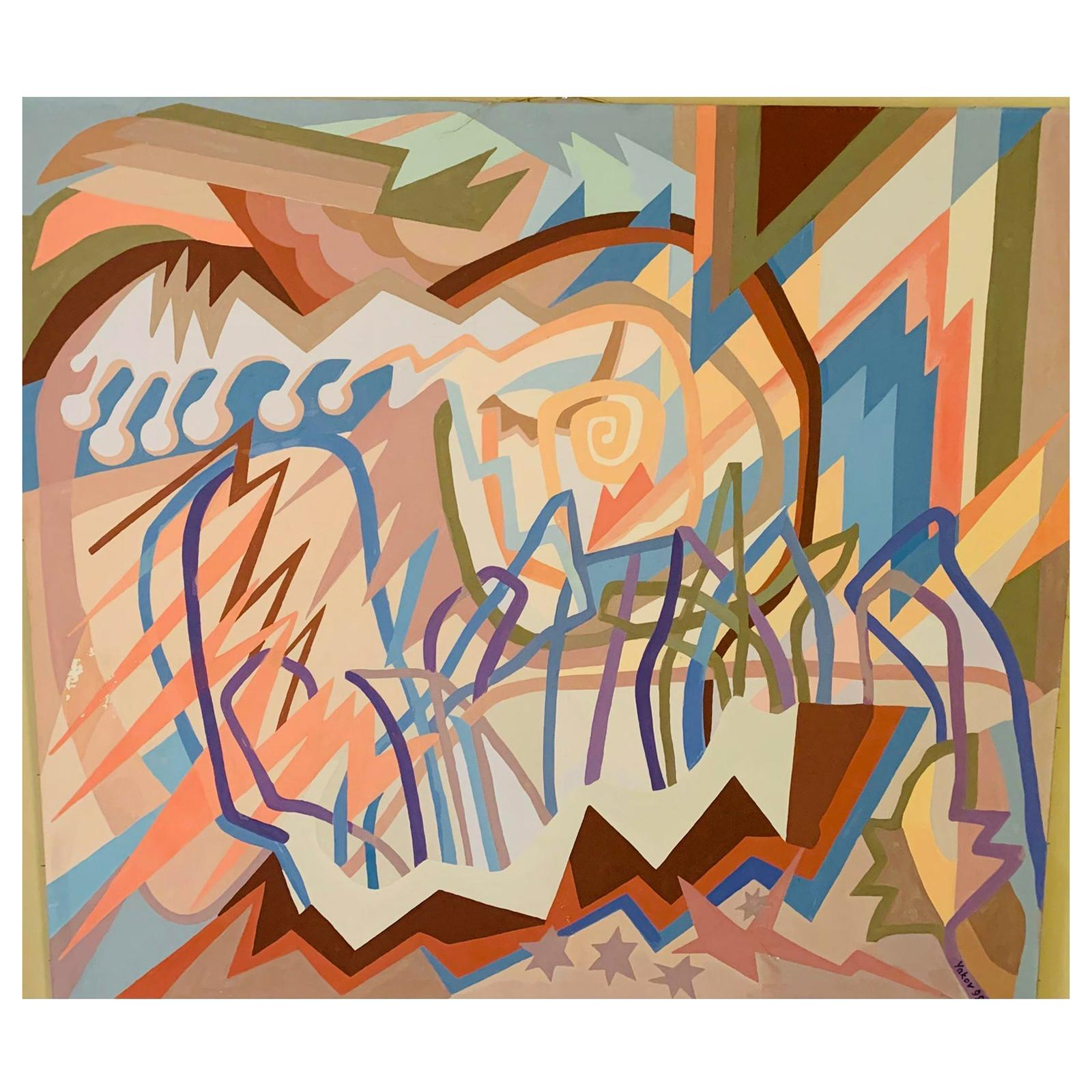 Vintage Large-Scale Geometric Abstract Painting, Signed Yakov
