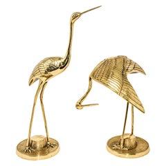 Vintage Large Scale Hollywood Regency Polished Brass Asian Crane Sculptures
