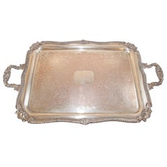 Vintage Large Silver Plate Tray George IV English Style