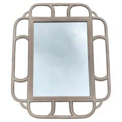 Vintage Large Whitewashed Bamboo Mirror