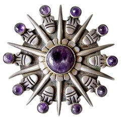 Vintage Large William Spratling Silver and Amethyst Sunburst Brooch
