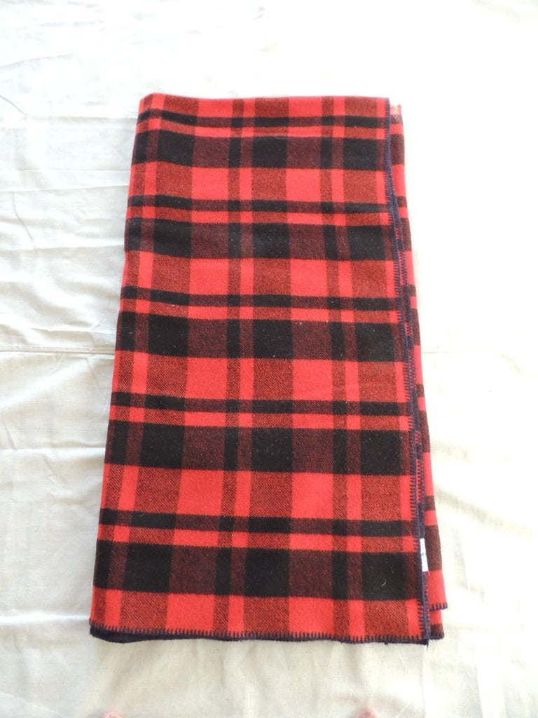 Country Vintage Large Wool Red and Black Plaid Blanket For Sale