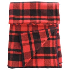 Vintage Large Wool Red and Black Plaid Blanket