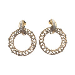 Vintage Large Yellow Gold and Diamond Circle Earrings