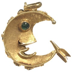 Vintage Large Yellow Gold Man in the Moon Charm