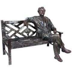 Vintage Larger than Life-Size Bronze of Albert Einstein on a Garden Bench