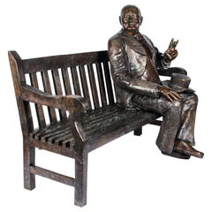 Vintage Larger than Life-Size Bronze Winston Churchill on a Bench, 20th Century