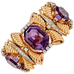 Vintage Late 1950s Diamond Amethyst 18 Karat Gold Wide Bracelet