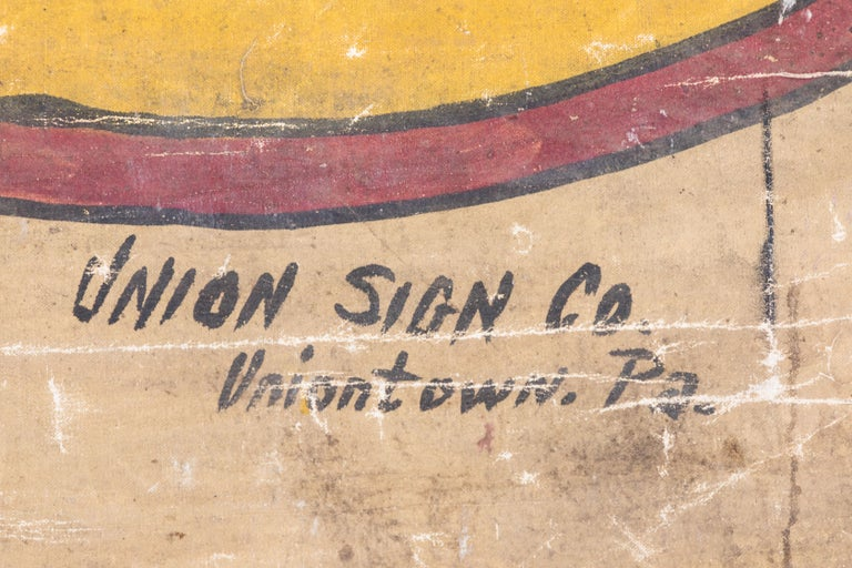 Vintage Late 19th Century Canvas Circus Carnival Midway Folk Art Sideshow Banner For Sale 4
